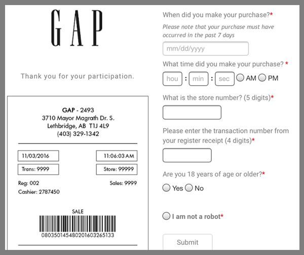 アメリカ発のアパレルショップ「GAP」が行うアンケートに答えてクーポンGET!